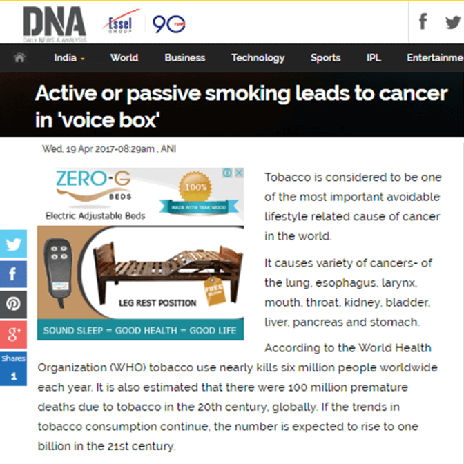Active or passive smoking leads to cancer in voice box