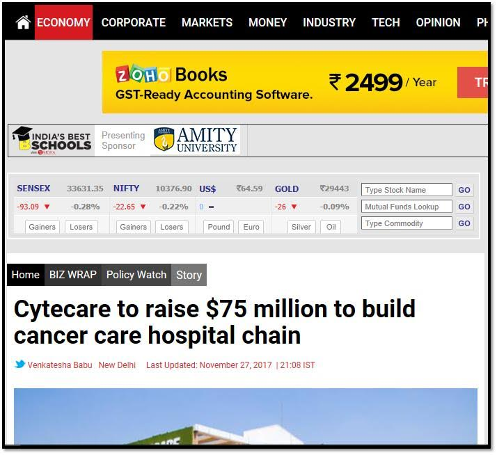 Cytecare to raise $75 million to build cancer care hospital chain