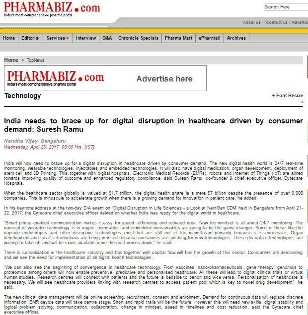 India needs to brace up for digital disruption in healthcare driven by consumer demand: Suresh Ramu