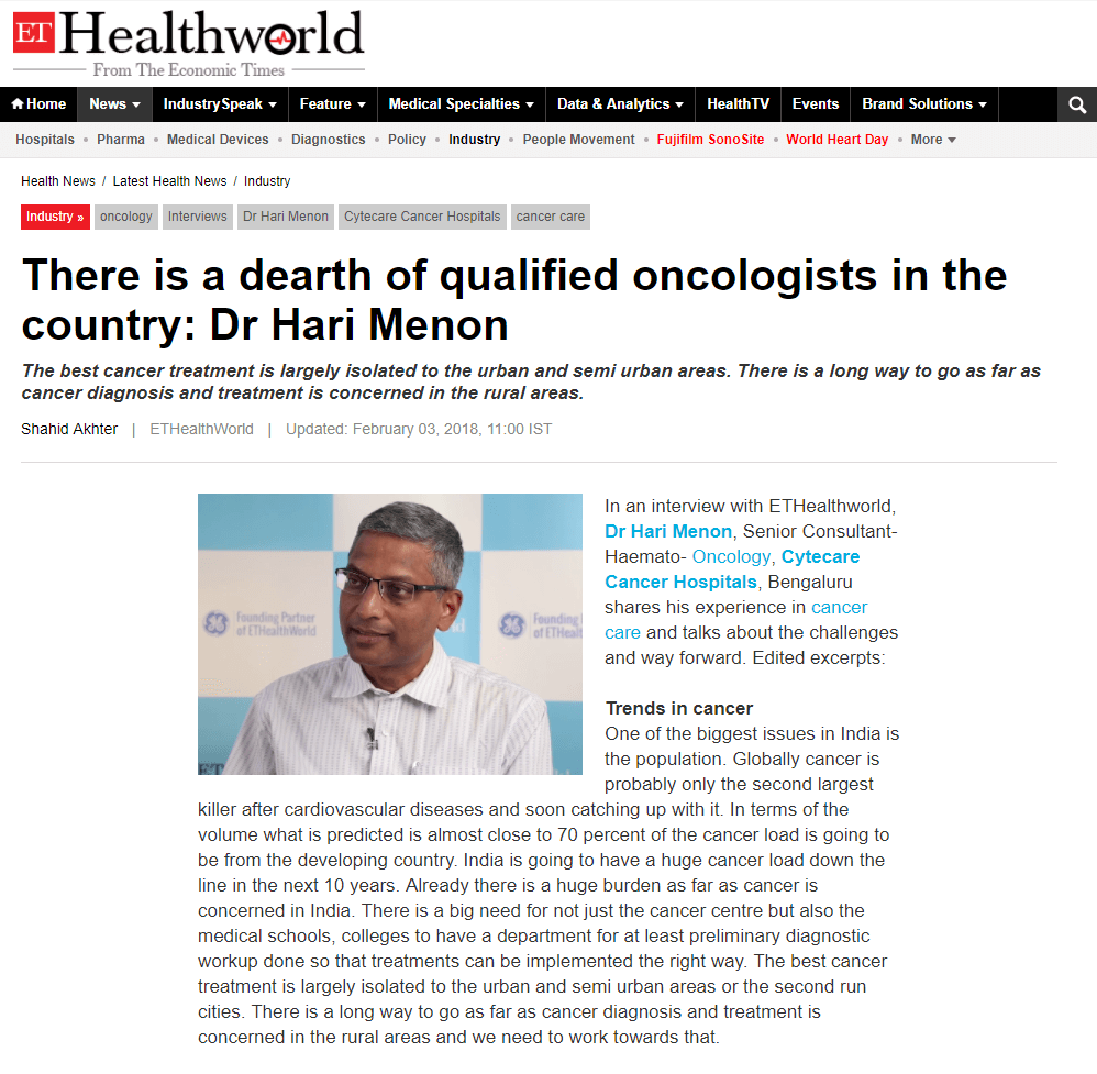 There is a dearth of qualified oncologists in the country: Dr Hari Menon