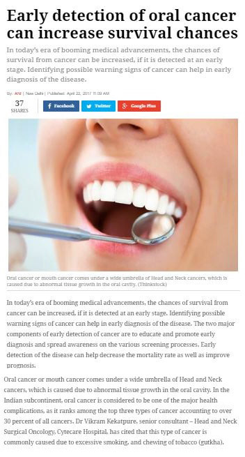 Early Detection of Oral Cancer can Increase Survival Chances