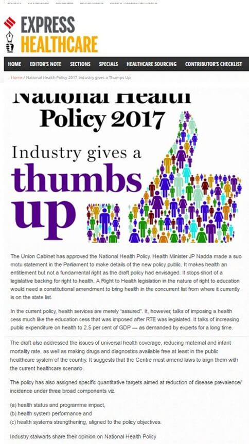 National Health Policy 2017 Industry gives a ThumpsUp