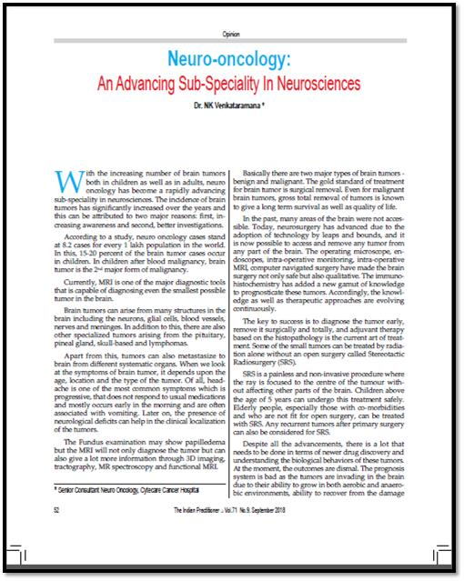 Neuro-Oncology: An Advancing Sub-Speciality In Neurosciences