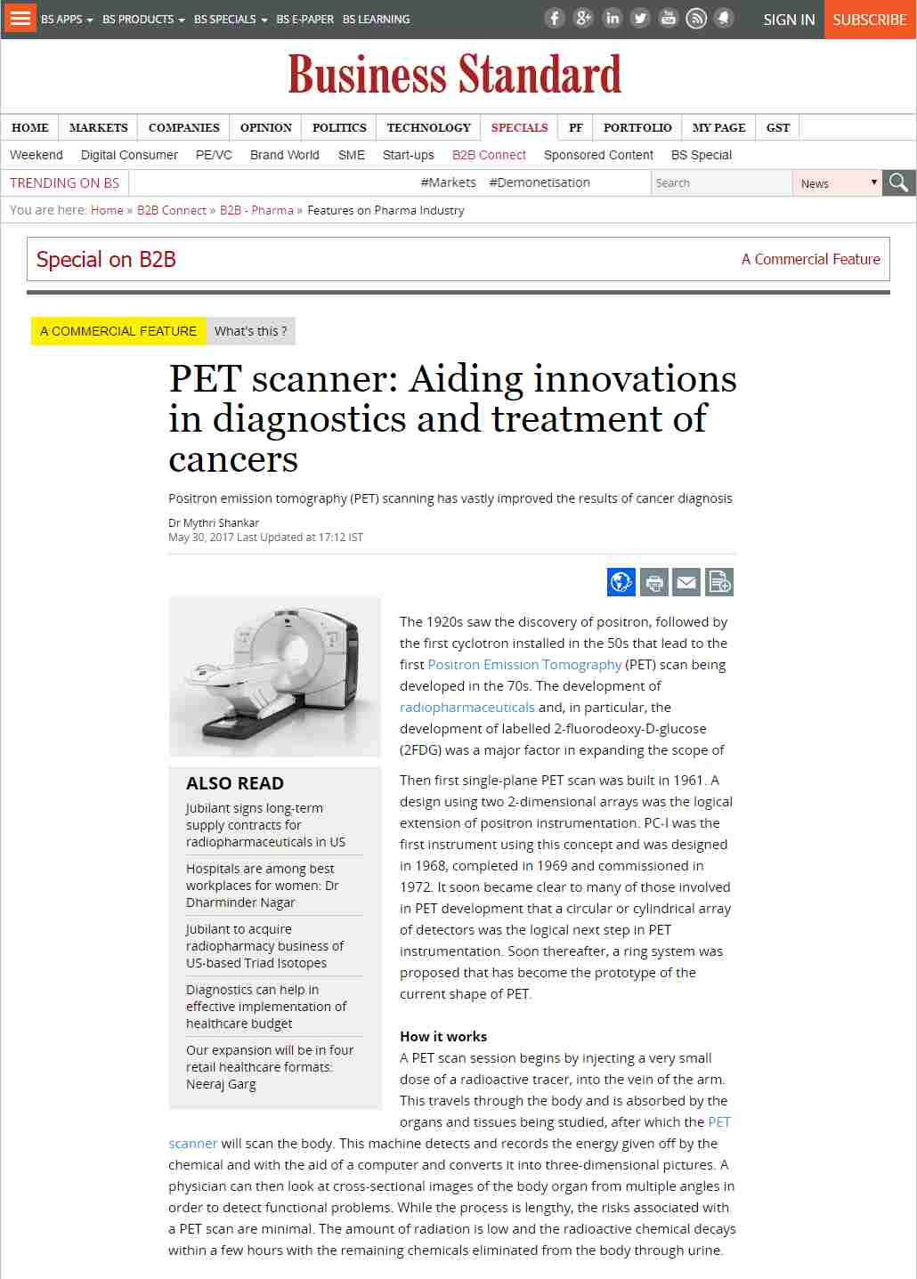 PET scanner: Aiding innovations in diagnostics and treatment of cancers