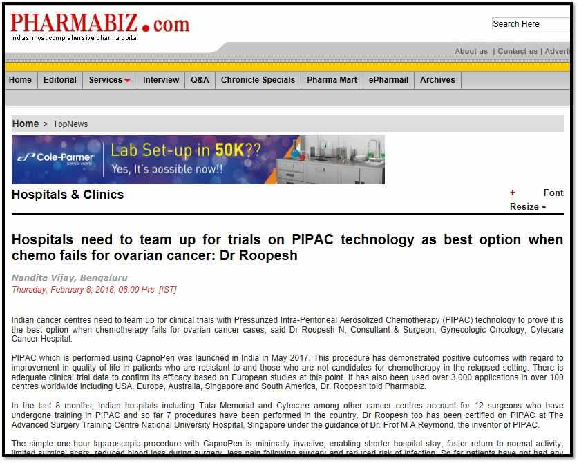 Hospitals need to team up for trials on PIPAC technology as best option when chemo fails for ovarian cancer: Dr Roopesh February 13, 2018