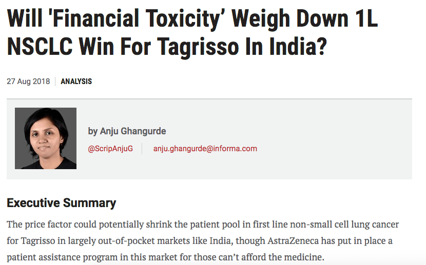 Will Financial Toxicity Weigh Down 1L NSCLC Win For Tagrisso In India