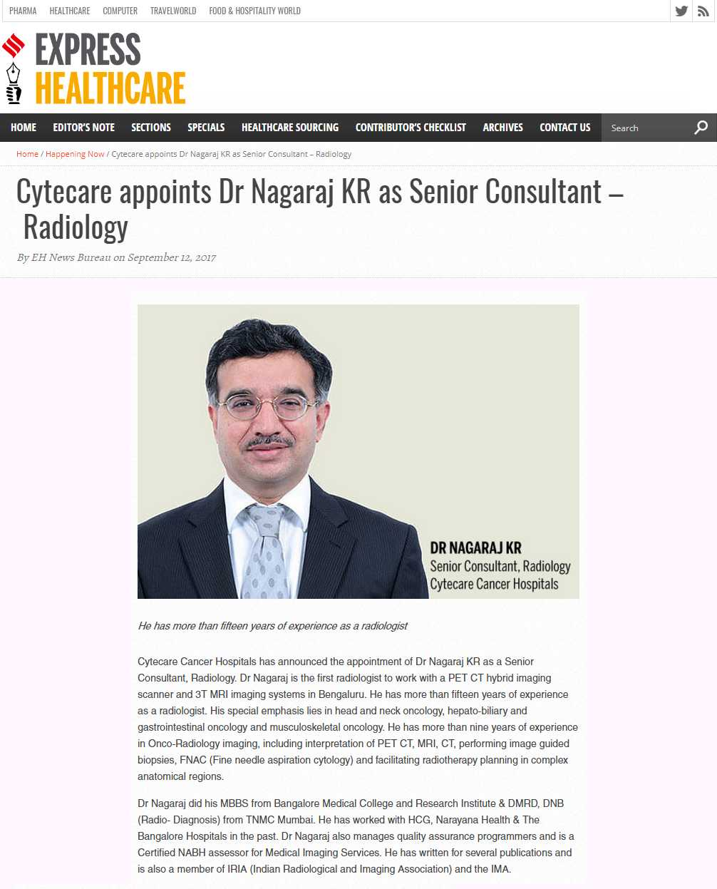 Cytecare appoints Dr Nagaraj KR as Senior Consultant- Radiology