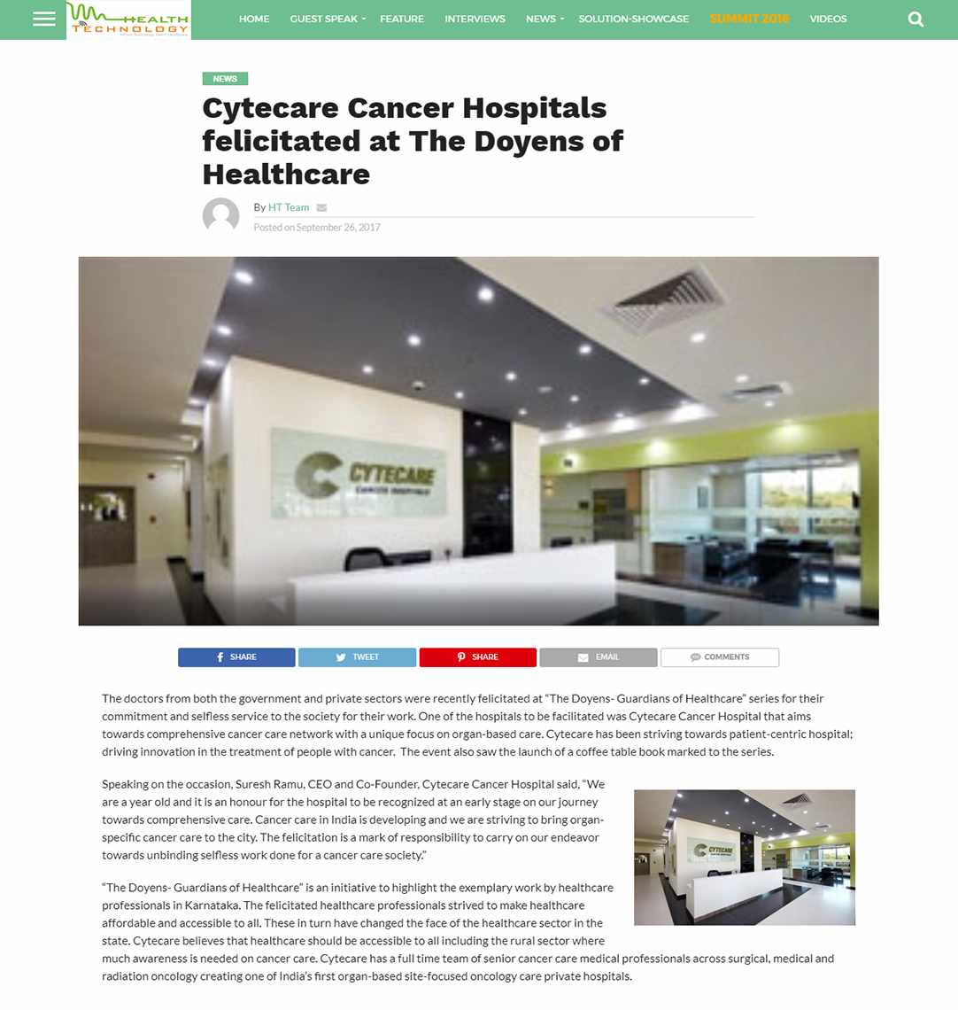 Cytecare Cancer Hospitals felicitated at The Doyens of Healthcare