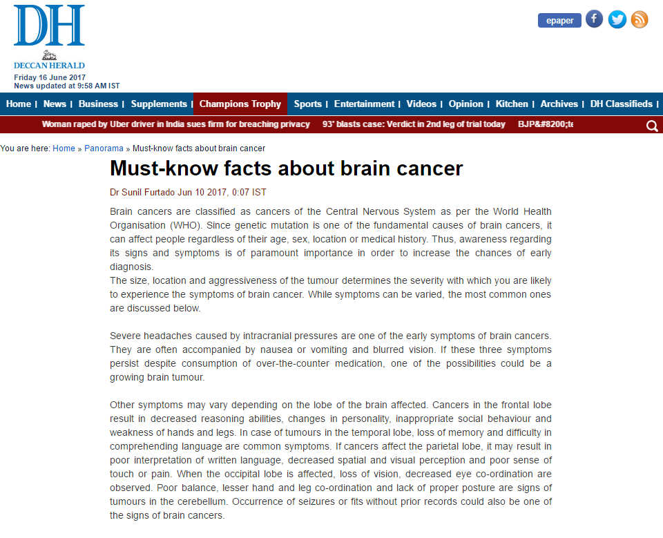 Must-know facts about brain cancer